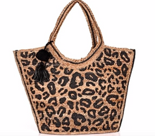 Load image into Gallery viewer, Leopard Jute Tote