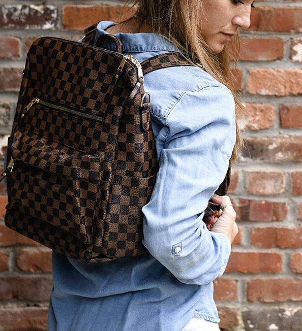High Flying Backpack- Brown Check