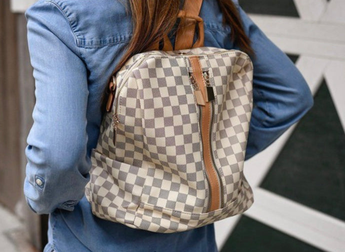 Quinn Backpack- White Check