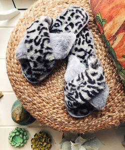 Slippers- Grey Leopard