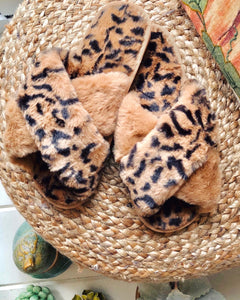 Slippers- Brown Leopard
