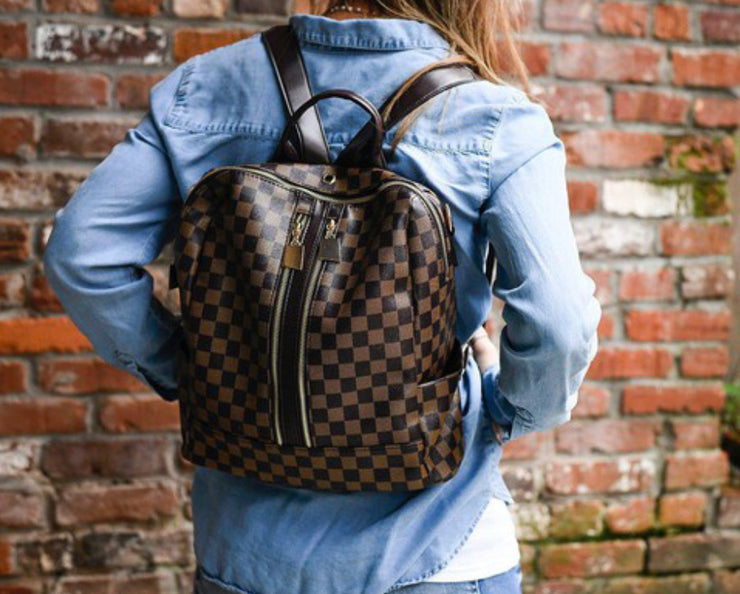 Quinn Backpack- Brown Check