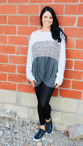 Grey Leopard Twist Top (Extended Sizes)