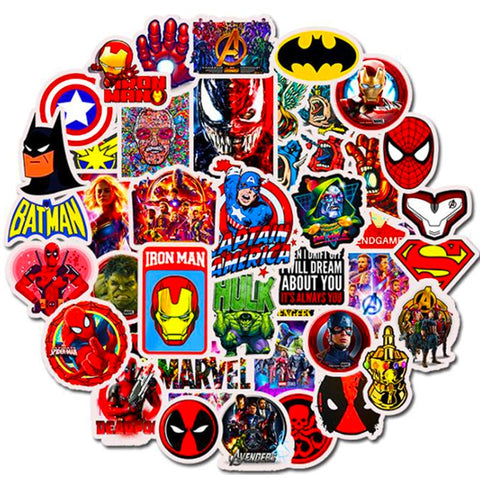 Autocollant Trottinette Cartoon Super Heroes50pcs