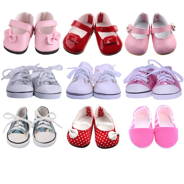 ZWSISU 9 Styles Doll Shoes White Tube Shoes Canvas Shoes For 18 Inch American Doll & 43 Cm Baby Doll For Our Generation  Girl`s