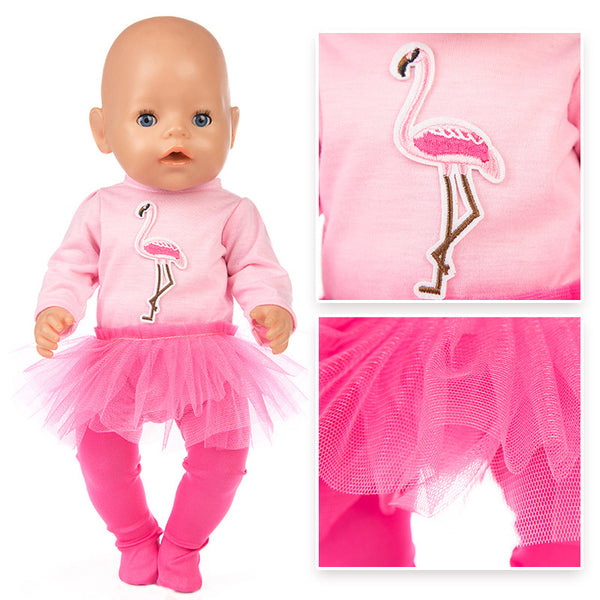 Pink tutu dress for 18 inch girls doll princess dress toys clothes bebe doll dress  For 43 cm Babies Born Dolls