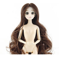 New 30cm 20 Movable Jointed Dolls Toys Cute 3D Big Blue Eyes Female Naked Nude Doll Head Body Fashion Hair Doll Toy For Girls