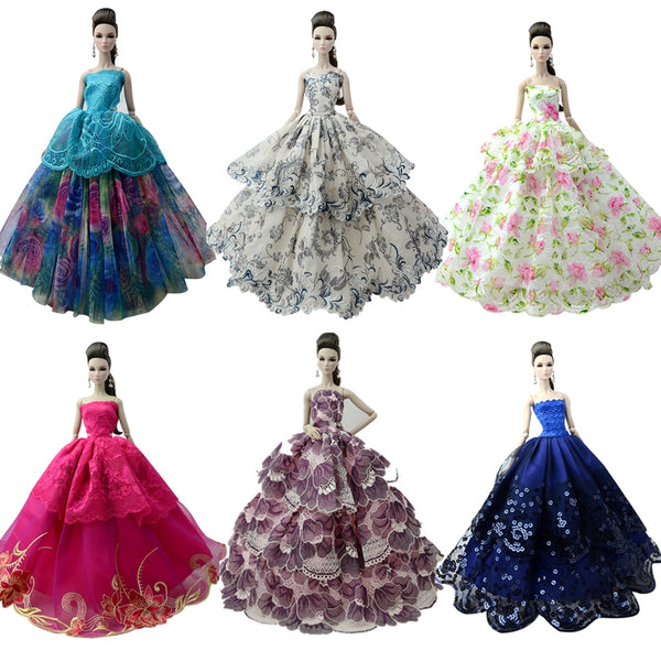 NK One Pcs 2019 Princess Wedding Dress Noble Party Gown For Barbie Doll Fashion Design Outfit Best Gift For Girl' Doll 058A JJ