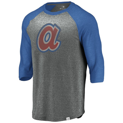 Men's MLB Atlanta Braves Massive Devotees Raglan 3/4 Sleeve T-Shirt