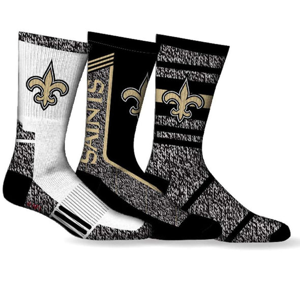 Men's NFL New Orleans Saints Sport 3-Pack Crew Socks