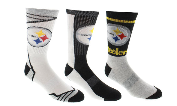 Men's NFL Pittsburgh Steelers Sport 3-Pack Crew Socks