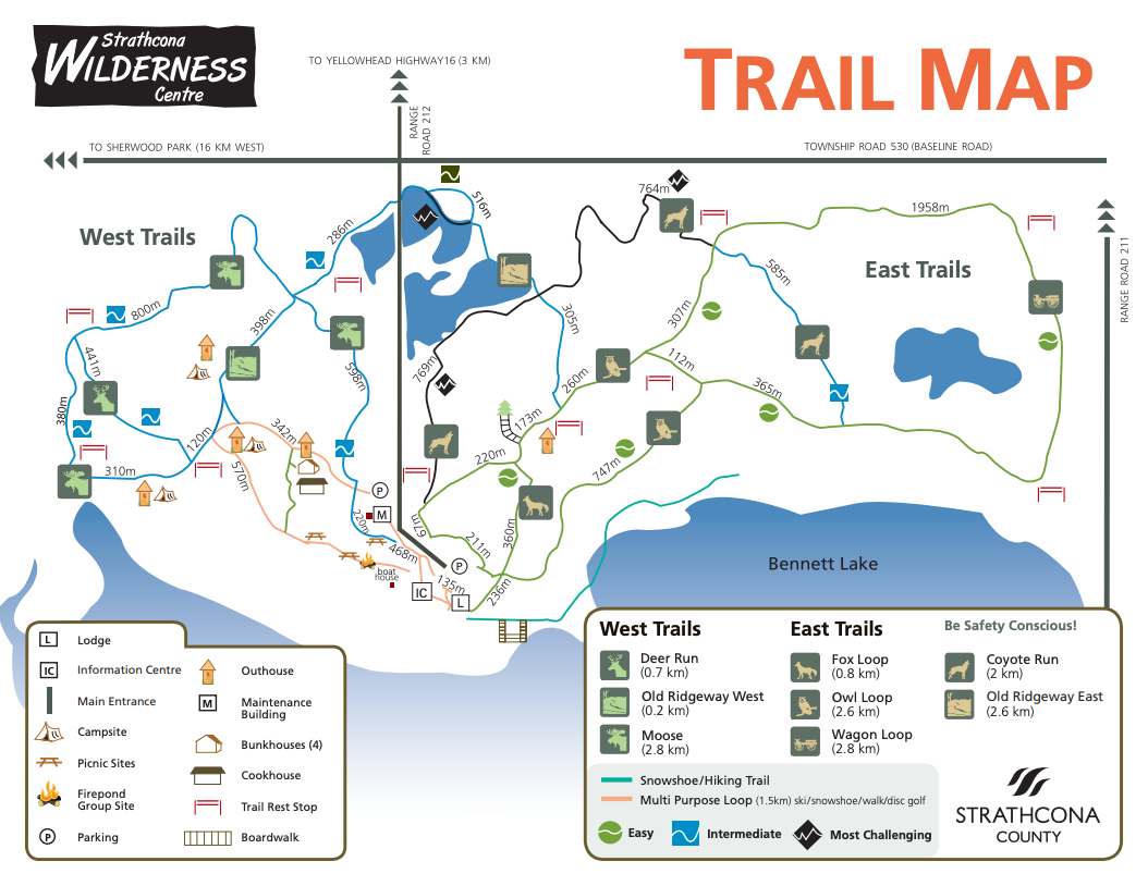 Strathcona Wilderness Centre Trail Map - Edmonton's Top 5 Best Snowshoeing Locations