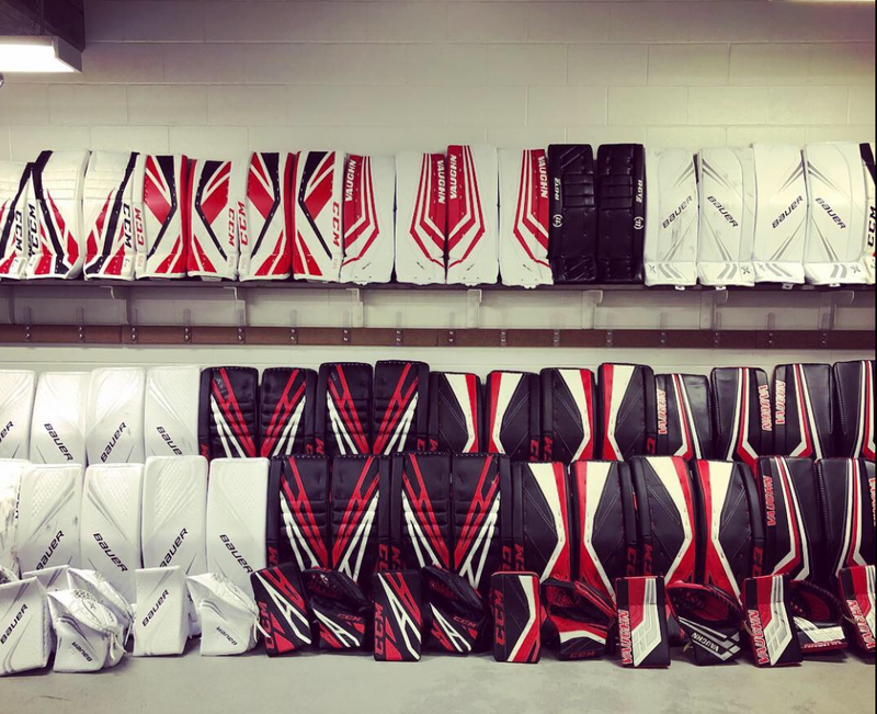 Demo and Rental Goalie Equipment Including Pads, Trappers, and Blockers Edmonton
