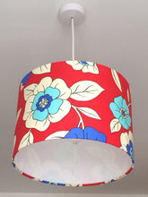 Load image into Gallery viewer, Bright Floral Red Lampshade