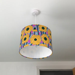 Yellow Flowers Drum Lampshade