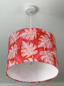 Monstera Red Lampshade