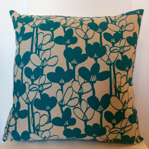 Snowdrops Turquoise Cushion