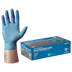 West Chester 2900 4 Mil Industrial Grade Lightly Powdered Blue Nitrile Gloves