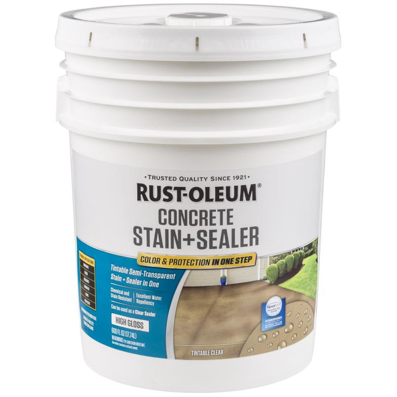 Rust-Oleum 5 Gallons High Gloss Tintable Clear Semi-Transparent Concrete Stain + Sealer