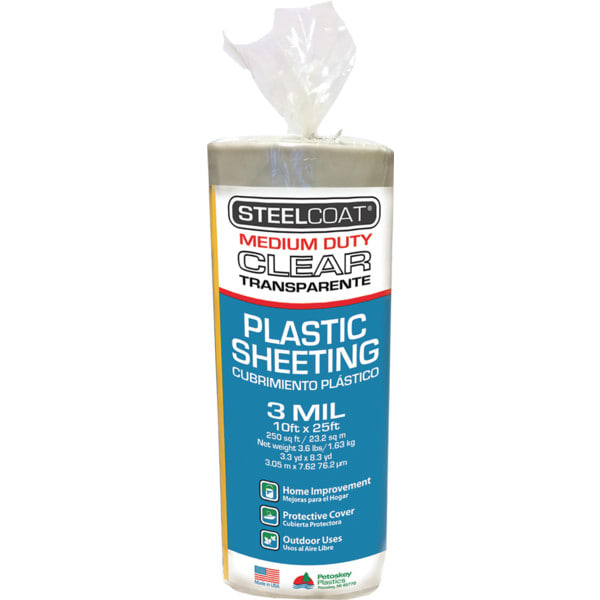 Petoskey 10' x 25' 3mil Steelcoat Clear Plastic Sheeting, Package of 12