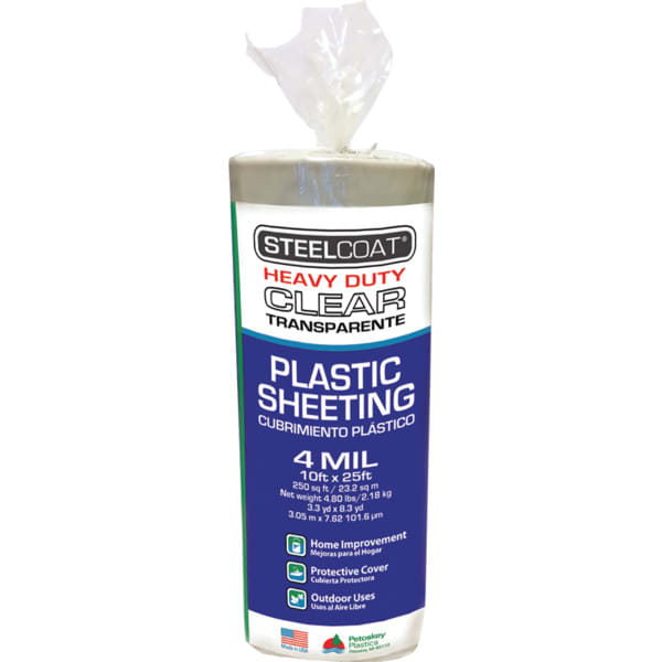 Petoskey 10' x 25' 4mil Steelcoat Clear Plastic Sheeting, Package of 12
