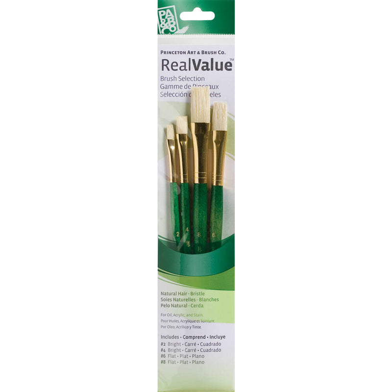 Natural-Bristle Set of 4 Brushes