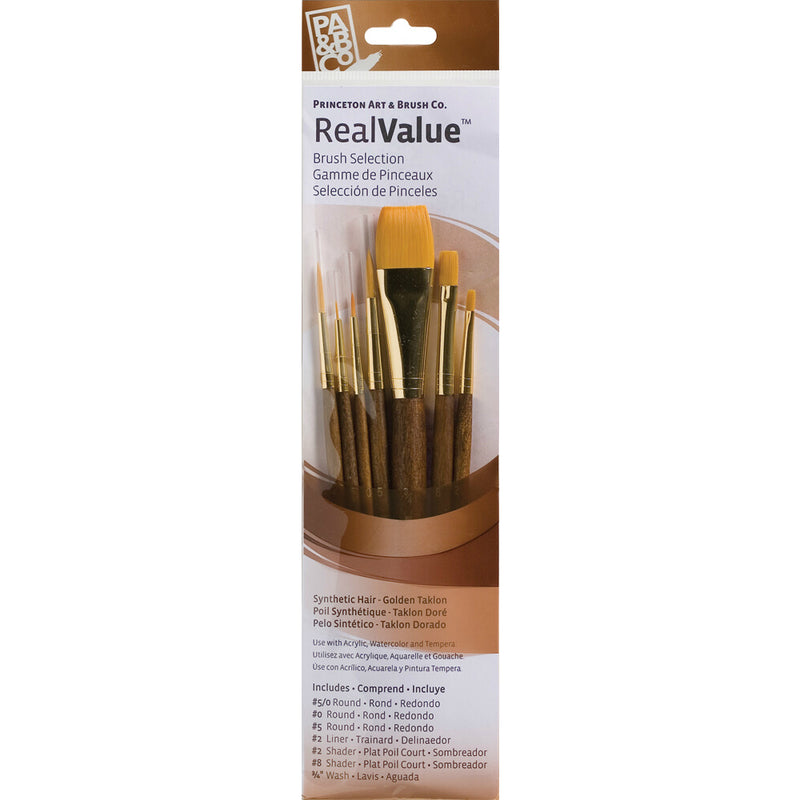 Synthetic-Golden Taklon Set of 7 Brushes