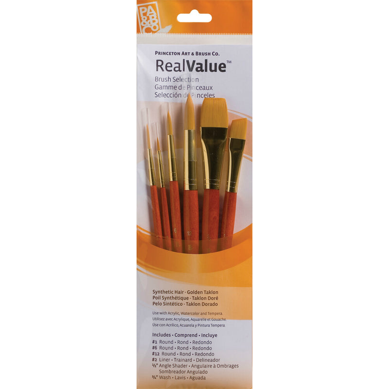 Synthetic-Golden Taklon Set of 6 Brushes