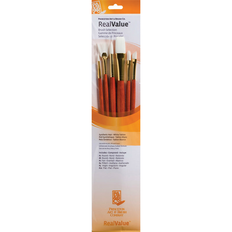 Synthetic-White Taklon Set of 6 Brushes