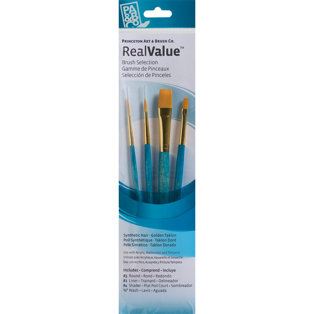 Synthetic-Golden Taklon Set of 4 Brushes