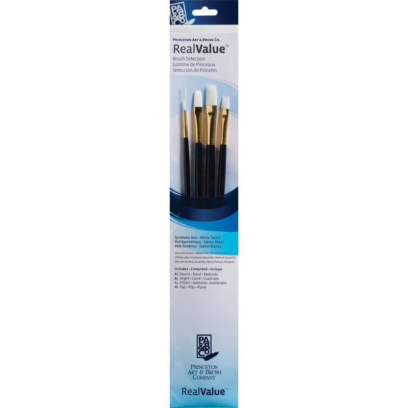 Synthetic-White Taklon Set of 4 Brushes