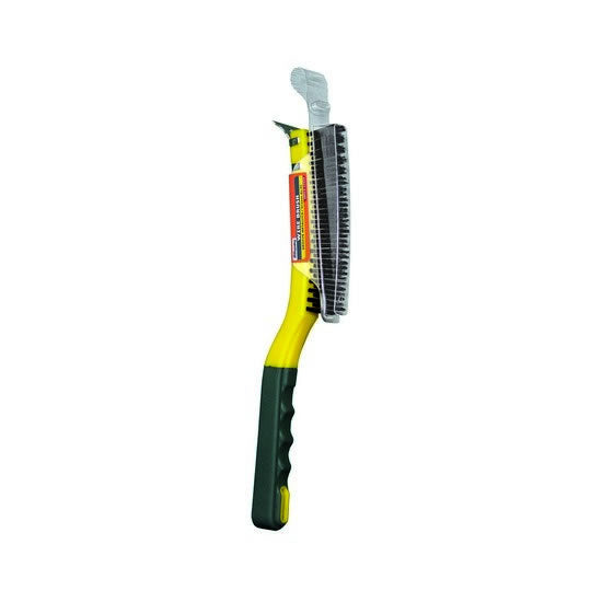 3×19 Soft Grip Carbon Steel Wire Brush with Scraper – 1-card – SB319