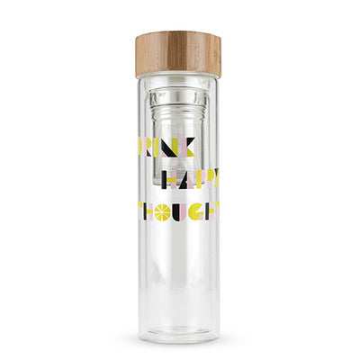 Happy Thoughts Glass Infused Tea Tumbler