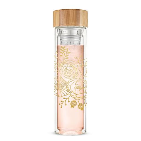 Gold Bouquet Glass Infused Tea Tumbler