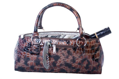 Brown Croc Wine Clutch