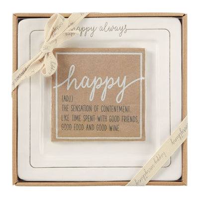 Happy Always Ceramic Cheese Plate Set