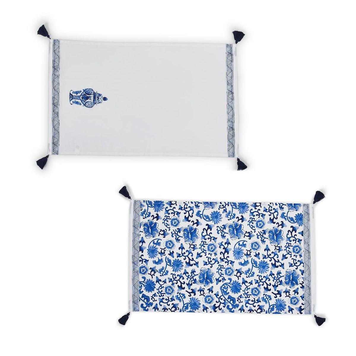 Chinoiserie Blue and White Set of 2 Dish Towels