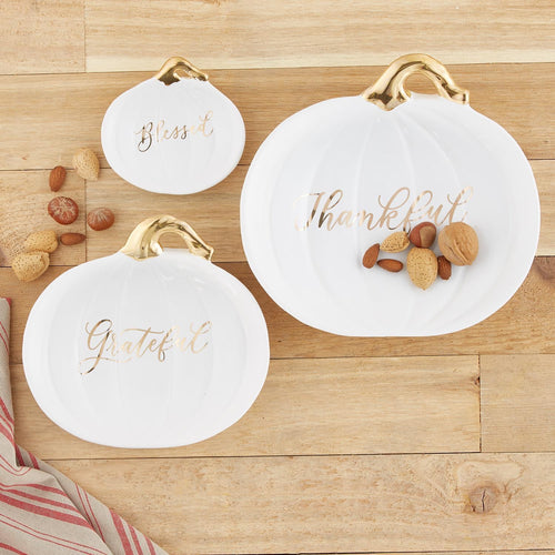 Blessed Ceramic plate with gold accents