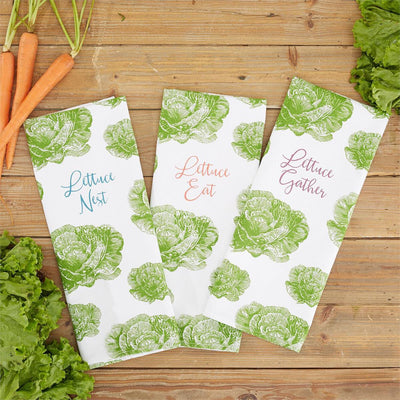 Lettuce dish towel with ceramic basket