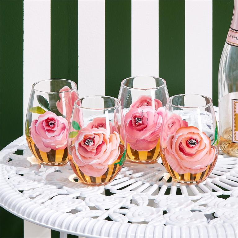 In Full Bloom - Hand-Painted Roses Stemless Wine Glass
