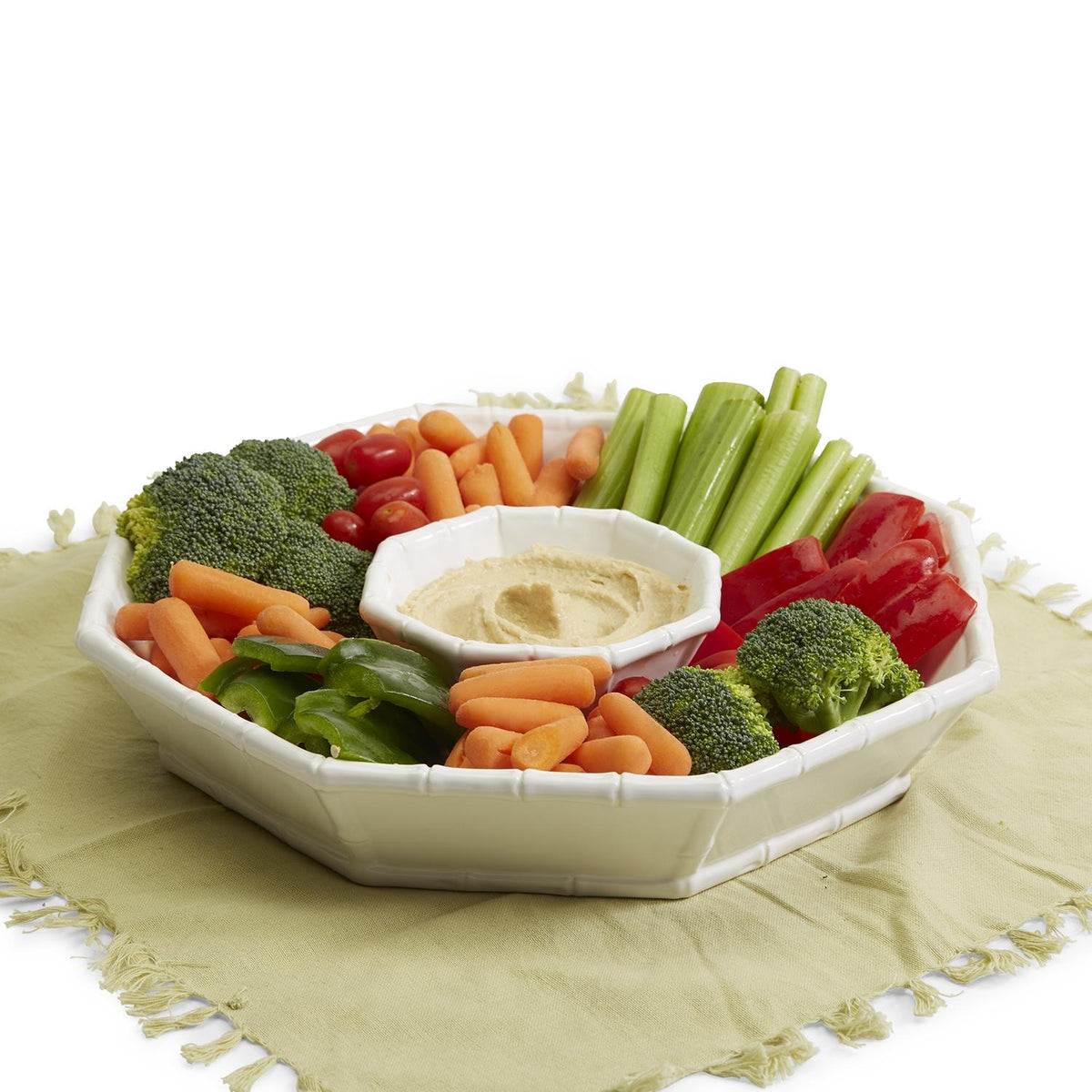 Hampton Faux Bamboo Fretwork Chip Platter and Dip Bowl Set (microwave safe and dishwasher safe) - Ceramic