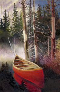 """Canoe In The Morning Mist"" by Clermont Duval"