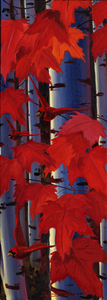 """Cardinal & Red Leaves"" by Clermont Duval"