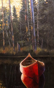 """The Red Canoe"" by Clermont Duval 20"" X 30""SOLD"