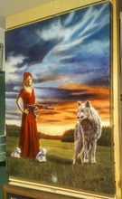 "Load image into Gallery viewer, ""Red Riding Hood Equal Force"" by Costel Duval 23"" X 30"""