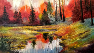 """The Power of Fall"" Original oil on canvas 36"" X 18"" by Clermont Duval"