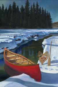 """Canoe, Paddle & Snow Shoes"" by Clermont Duval"