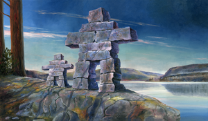 """Inukshuk Mother & Child"" by Clermont Duval"