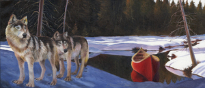 """Two Wolves & A Canoe"" by Clermont Duval"