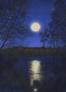 """Quiet Full Moon Night"" Oil and acrylic on canvas by Costel Duval"